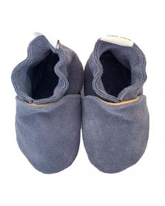 baby shoes plain blue suède