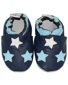 leather babyshoes blue galaxy