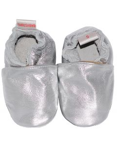 baby shoes leather plain silver
